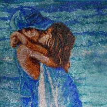 """Enfants """" Amoureux à la plage """" 38 X 56 CM  TOUT STRASS"""