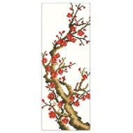 CARRE D'ART Branche fleurie Rouge***18  X 40 CM