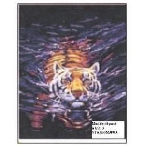 Tigre strass Tout Strass 40 x 50 cm SUR CADRE BOIS