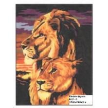 Lions strass Toile décorée 40 x 50 cm SUR CADRE BOIS
