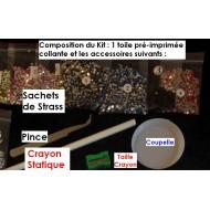 DANSEURS TANGO STRASS FOND TOILE SUR CADRE BOIS 40 X 30 CM