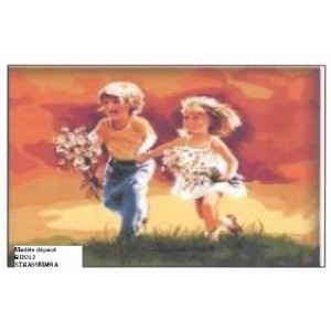 Enfants aux champs en strass  sur Toile décorée 40 x 50 cm SUR CADRE BOIS