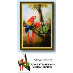 COUPLE ARA  STRASS 39 x 59 cm sur toile décorée roulée