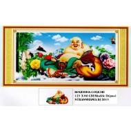 BOUDDHA COUCHE Strass sur toile décorée 123 x 60 cm