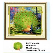 Paon Strass sur toile décorée 80 x 90 cm