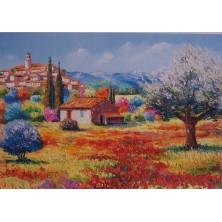 """""""Village et Olivier en Provence """" 45 X 68 CM TOUT STRASS"""