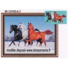 3 Chevaux strass sur toile décorée roulée 54 *43 cm