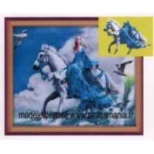 Princess à Cheval strass sur toile décorée roulée 54 *43 cm