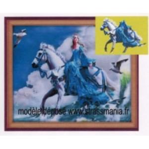 Princesse à Cheval strass sur toile décorée roulée 54 *43 cm