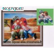 Jeunes AMOUREUX strass sur toile décorée roulée 54 *43 cm