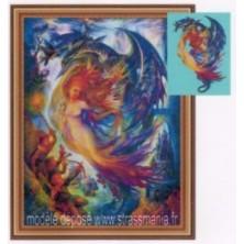 DRAGON strass sur toile décorée roulée 54 *43 cm