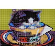Chat Tasse tout strass sur toile roulée 26 *36 cm