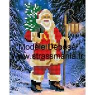 Père Noel STRASS sur TOILE DECOREE 20 x 30 cm SUR CADRE BOIS