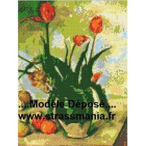 Bouquet de tulipes TOUT STRASS 40 x 30 cm SUR CADRE BOIS