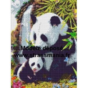 PANDAS TOUT STRASS 40 x 30 cm SUR CADRE BOIS