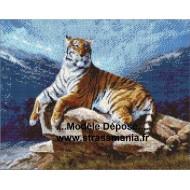 TIGRE TOUT STRASS 40 x 50 cm SUR CADRE BOIS