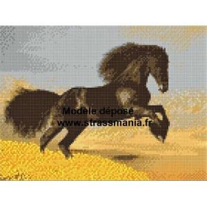 CHEVAL NOIR TOUT STRASS BRILLANTS  40 x 30 cm SUR CADRE BOIS
