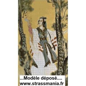 PRINCESSE ASIATIQUE Tout Strass sur toile 102x60cm