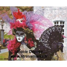 Carnaval de VENISE Tout Strass sur toile  80x65cm