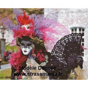 Carnaval de VENISE Tout Strass Brillants sur toile  80x65cm
