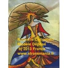 PRINCESSE DES GLACES STRASS FOND TOILE SUR CADRE BOIS 40 X 30 CM