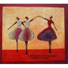 """"""" Les 3 Danseuses sur toile """" 53 X 47 CM"""
