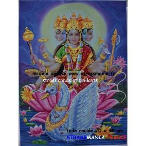 DEVI La déesse Mère Strass sur toile décorée 89 x 72 cm