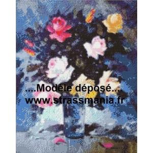 ROSES TOUT STRASS 40 x 50 cm SUR CADRE BOIS
