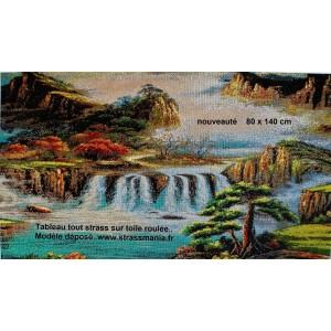 Cascade 140 x 80  cm tout strass sur toile roulée
