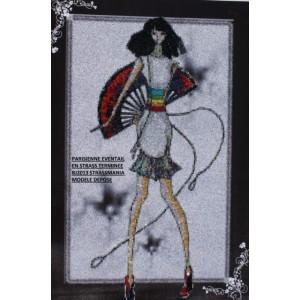 """"""" Parisienne Eventail sur toile """"  46 X 68 CM"""