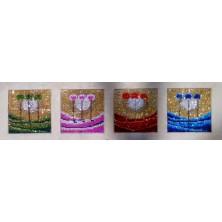 4 SAISONS STYLISÉES BLEUE / ROUGE / VERTE / ROSE   19 X 19 CM