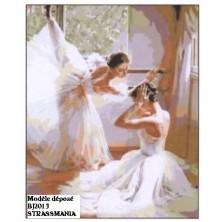 Danseuses strass Toile décorée 40 x 50 cm SUR CADRE BOIS