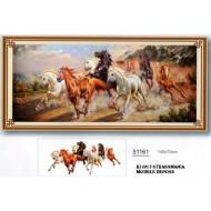 CHEVAUX STRASS 145 x 70 cm sur toile décorée roulée