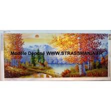 Paysage de Montagne Strass sur toile décorée 175 x 74 cm