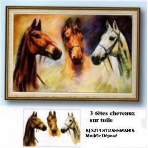 3 CHEVAUX STRASS  sur toile décorée roulée