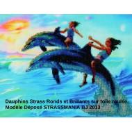 Dauphins strass sur toile décorée roulée 54 *33 cm