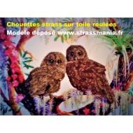 Chouettes strass sur toile décorée roulée 54 *43 cm