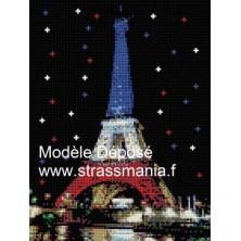 Tour EIFFEL TOUT STRASS 40 x 30 cm SUR CADRE BOIS