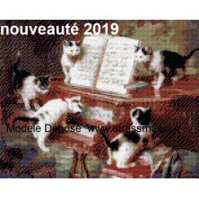 Chats musiciens Tout strass Brillants  sur cadre bois 40 x 50 cm
