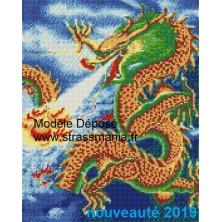 Dragon Tout strass Brillants  sur cadre bois 40 x 50 cm